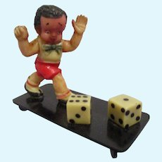 Vintage Miniature Boy with Dice - Great Novelty Character