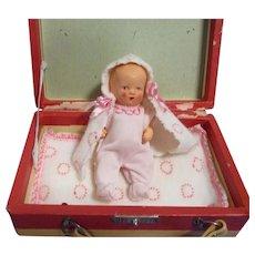 Vintage German Bisque Baby Doll All Original in Travel Suitcase