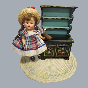 HTF Vintage Black Lacquered Wood Doll Hutch