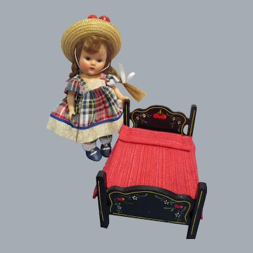HTF Vintage Black Lacquered Wood Doll Bed