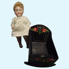HTF Vintage Black Lacquered Wood Doll Cradle