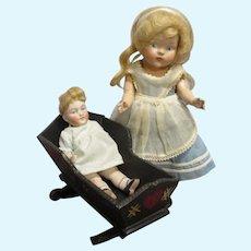 HTF Vintage Black Wooden Doll Cradle