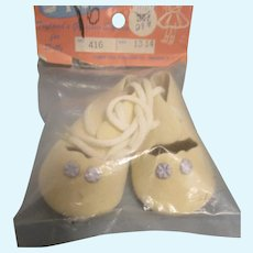 Vintage White Tie Doll Shoes in Original Pack