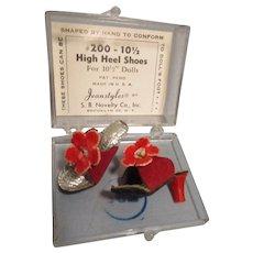 """Vintage 1950s 10 1/2"""" Fashion Doll High Heels MIB"""