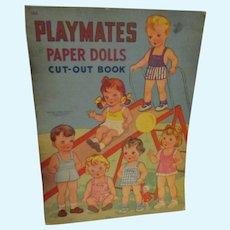 """Vintage Paper Doll Set """"Playmates Paper Dolls"""" Uncut"""