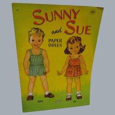 "Vintage Paper Doll Set ""Sunny and Sue Paper Dolls"" Uncut"