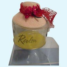 Vintage 1950s Little Miss Revlon Straw Hat in Original Hat Box