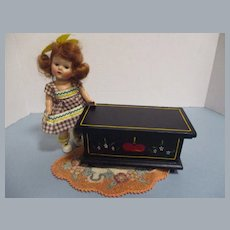 HTF Vintage Black Lacquered Wood Hope Chest!