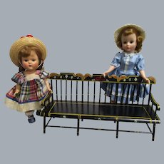HTF Vintage Black Lacquered Wood Doll Settee