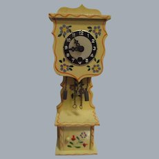 Vintage German Wooden Tall Hand Painted Grandfather Clock
