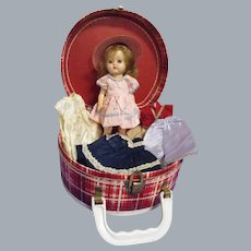 """Vintage 1950s 8"""" Doll with Wardrobe and Case"""