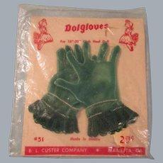 Vintage HTF 1950's MIP Pair of Cissy Green Gloves