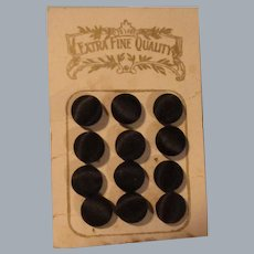 Vintage Black Silk Buttons on Original Card