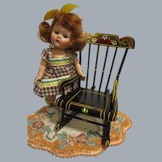 HTF Vintage Black Lacquered Wood Doll Rocker