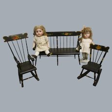 Vintage 1950s Hand Crafted Wooden Doll Furniture Set of 3 -Deacon's Bench and 2 Rockers