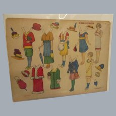 """Vintage Early Decalco Litho Co. """"Doll Cut-Outs Set No. 3"""" Uncut"""