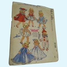 "Vintage 1957 McCall's ""Diminutive Dolls' Instant Wardrobe"" Pattern #2150 Uncut & Complete"