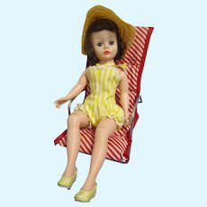 Vintage 1950s Madame Alexander Cissette Doll with Watko Lawn Chair