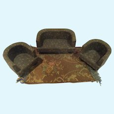 Vintage Wooden Dollhouse Sofa and 2 Chairs Fabric Covered