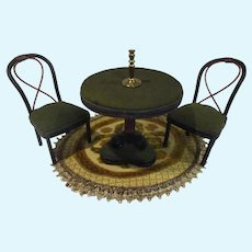 Vintage Bentwood Dollhouse Table, Chairs & Brass Candle Holder