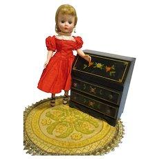 HTF Vintage Black Lacquered Wood Doll Drop Leaf Desk