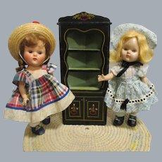 HTF Vintage Black Lacquered Wood Doll Corner Cupboard