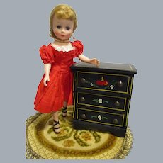 HTF Vintage Black Lacquered Wood Doll Chest of Drawers