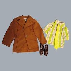"Vintage Mattel Ken 1972 ""Brown On Brown"" Jacket, Shirt, Tie & Shoes"