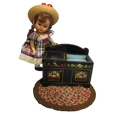 HTF Vintage Black Lacquered Wood Doll Dry Sink!