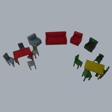 Vintage Miniature Plastic Dollhouse Furniture-Lot of 13 Pieces