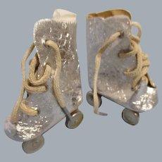 Vintage Doll Silver Roller Skates