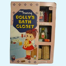 "Vintage 1950's My Merry ""Dolly's Bath Closet"" Toy All Original"