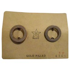 Vintage Gold Filled Miniature Circle Pins on Original Card