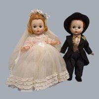 """Vintage 1950s Madame Alexander """"Wendy Bride and Groom"""" Dolls"""