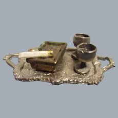 Vintage Miniature Metal Tray Set with Cigarette and Ashtray