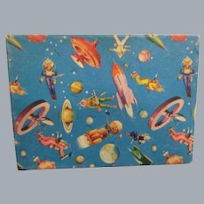 Vintage Child's Gift Box with Outer Space Theme