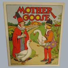 """Vintage Early Linenette """"Mother Goose"""" Child's Book"""