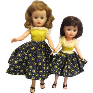 Vintage 1950s Little Miss Ginger & Miss Ginger Dolls in Matching All Original Tagged Outfits