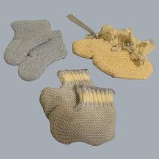 Vintage Baby Booties for Baby Dolls - Lot of 3