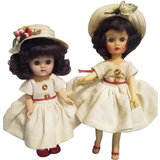 Vintage 1950s Little Miss Ginger & Ginger Dolls in Matching All Original Tagged Outfits