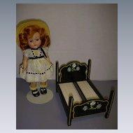 Rare Vintage Black Lacquered Wood Doll Bundling Bed!