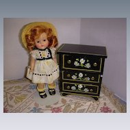 HTF Vintage Black Lacquered Wood Chest of Drawers!