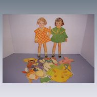 "1936 Vintage Paper Doll Set ""Honey & Bunny Stand-Up Dolls"" Paper Dolls!"