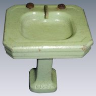 Vintage Green Wooden Bathroom Sink!