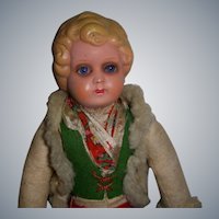 Vintage German Celluloid Glass Eyed Doll!