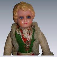 Vintage German Celluloid Glass Eyed Doll!