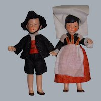Vintage All-Bisque German Dolls! Large Ethnic Pair!