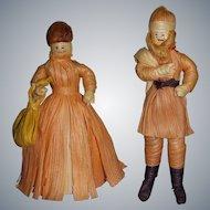 Vintage Santa & Mrs. Santa Folk Art Corn Husk Dolls