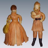 Vintage Santa & Mrs. Santa Folk Art Corn Husk Dolls
