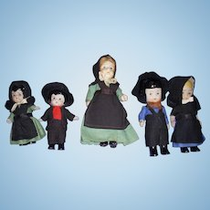 Vintage All-Bisque Amish Dolls Lot of 5